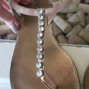 Ballet pink sandals with crystal detailing